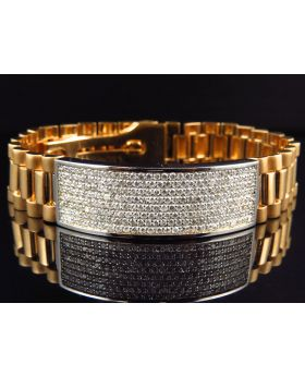 18k Yellow Gold Presidential Style Pave Mens VS Diamond Bracelet (6 Ct)