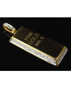 Genuine Diamond Miniature Gold Brick Pendant Pendant In Solid 10K Yellow Gold (0.75ct)