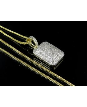 10K Yellow Gold Real Diamond Pillow Pendant Charm Chain Combo 2.0ct