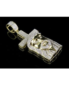 Men's 10K Yellow Gold Genuine Diamond Jesus Christ Cross Pendant Charm 7/8 Ct 2""