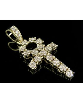 10K Yellow Gold Real Diamond Egyptian Cluster Dome Ankh Cross Pendant 2 Ct 2.25""
