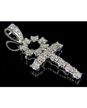 10K White Gold Real Diamond Dome Cluster Ankh Cross Pendant Charm 1 1/2 Ct. 2""