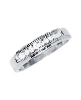 Mens 5mm Faceted Band in White Gold (0.25 ct)