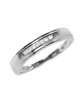 Mens 4mm Band in White Gold (0.07 ct)