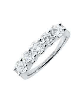 Five-stone Shared Prong Diamond Wedding Band in 14k (1.54ct)