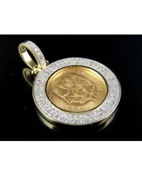 24K Mexican peso Coin Real Diamond Coin Pendant 3/5 CT 1.2""