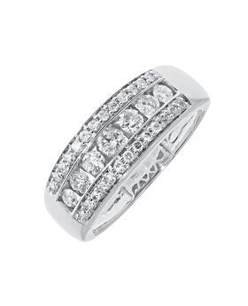 Three Row Channel Set Diamond Band Ring in 10k (1.20ct)