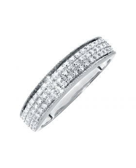 Men's Pave Diamond Band Ring in 10k White Gold (0.26ct)