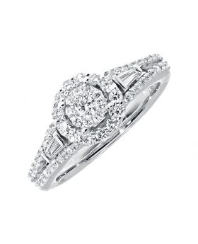 Halo Round Cut Diamond Engagement Ring in 14k Gold (1.0ct)