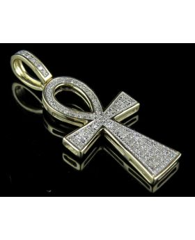 Men's 10K Yellow Gold Real Diamonds Ankh Cross Pendant 0.30ct