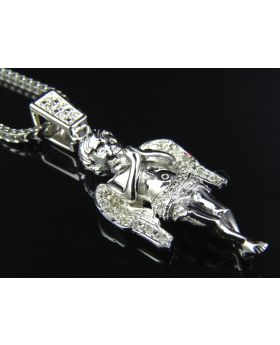 Genuine Diamond Sterling SIlver Angel Pendant Finished In White Gold (with chain) (.10 Ct)