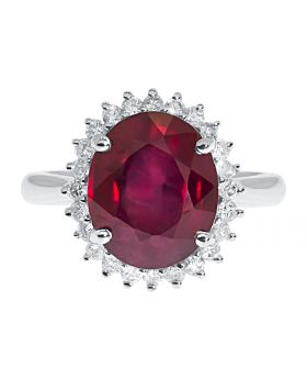 Fancy 7.39ct Oval Ruby & Round Diamond Accent 14k Cocktail Ring