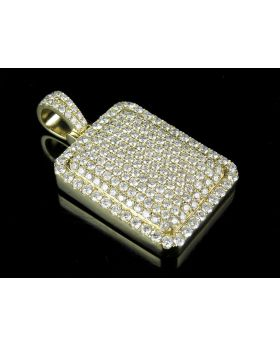 10K Yellow Gold Real VS2 Diamond Dome Pillow Pendant Charm 5.50ct 1.65""