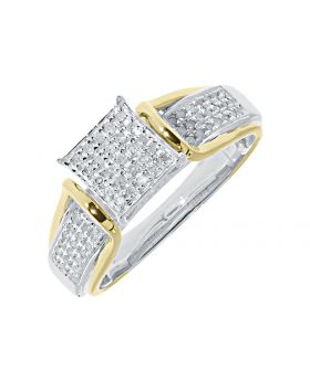 Square Pave Diamond Engagement Ring in Two-tone Silver (0.50ct)