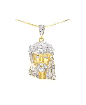 Jesus Pendant in 10k Yellow Gold with Brush Finish (0.50 ct)