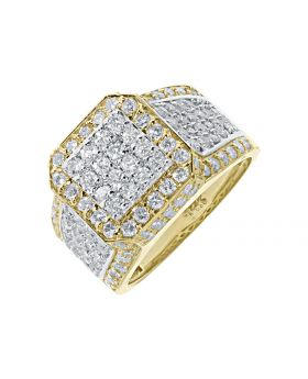 Pave Set Two Tone Diamond Pinky Ring in 14k Yellow Gold (4 ct)