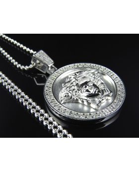 Exclusive Greek Key Pendant & Chain in White 925 Silver