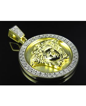 Premium Greek Key Head Pendant in Yellow 925 Silver