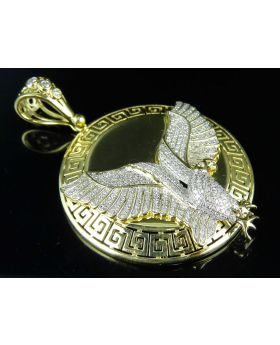 "10K Yellow Gold Mid-Flight Eagle 2"" Medallion Diamond Pendant Charm 1.65ct."