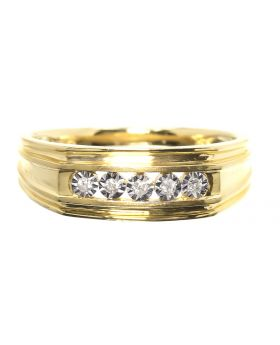 Mens Five Stone Bezel Set Diamond Band (0.10 ct)