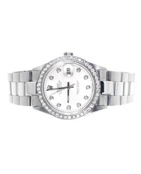 Rolex Datejust Stainless Steel with White Pearl Dial Diamond Watch (2.15 Ct)