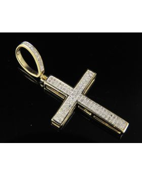 10K Yellow Gold Real Diamond Cross Pendant 0.25 CT 1.25""