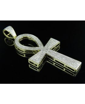 10K Yellow Gold Ankh Cross Diamond 3 Inch Pendant Charm 1.75ct