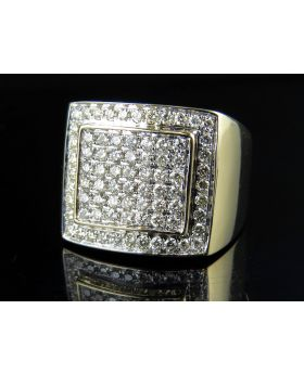 10K Yellow Gold Real Diamond Men's Square Pinky Engagement Ring 1.50ct