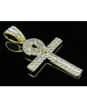 "14K Yellow Gold Ankh Cross Two Row Diamond 1.5"" Pendant Charm 0.89ct."
