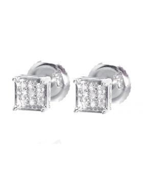 4 Prong Earrings in White Silver (0.05 ct)