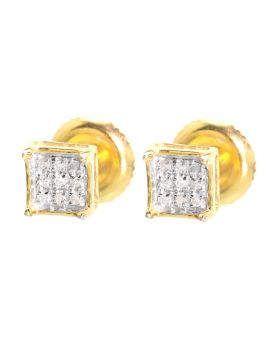 4 Prong Earrings in Yellow Finish (0.05 ct)