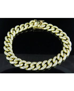 10K Yellow Gold Lab Diamond Miami Cuban Pave Set  Bracelet 9""