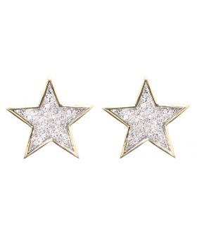13mm Star Earrings in Yellow Gold (0.40 ct)
