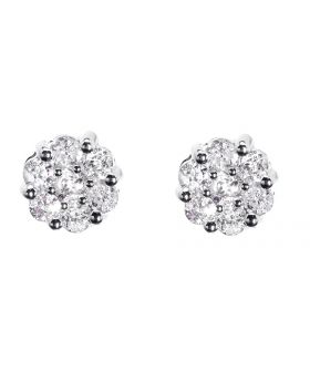 Flower/Cluster Earrings in White Gold Finish (0.50 ct)