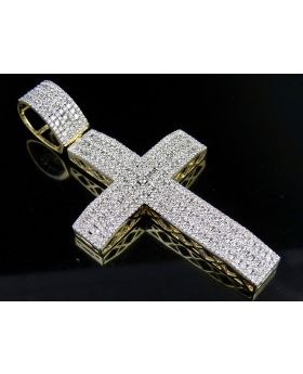 Men's 10K Yellow Gold Genuine Diamond 3 Inches Iced Cross Pendant 7 CT