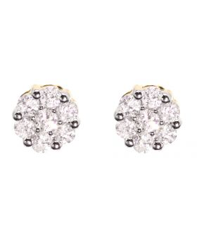 Flower/Cluster Earrings in Yellow Gold (0.53 ct)