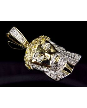 Men's 10K Yellow Gold Jesus Face Piece 1.25 Inch Canary and White Diamond Pendant (0.50ct.)