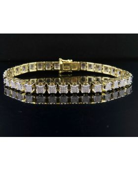 10K Yellow Gold Men's Square Cluster Real Diamond Bracelet 2 CT 8.5""
