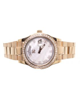 KC Rose Date Date Watch with Mother of Pearl Dial (1.90 ct)