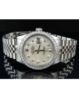Mens Rolex Date Just 36MM Oyster Perpetual White MOP Dial Diamond Watch 2.75 Ct