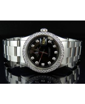 Mens Rolex Date Just 36 MM Oyster Perpetual Black Dial Diamond Watch 2.75 Ct