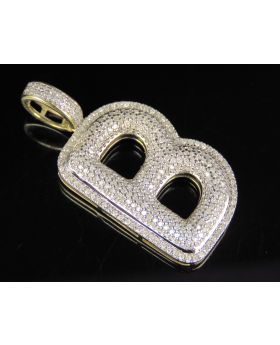 10K Yellow Gold Real Diamond Bubble Initial B Letter Pendant 1 CT 1.5""