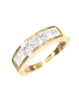 5 Stone Unisex Band in Yellow Gold (1.05 ct)