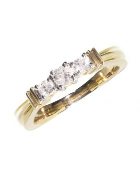 Three Stone Round Cut Diamond Ring in 14k Yellow (0.36ct)