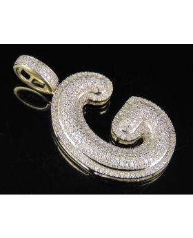 """10K Yellow Gold Real Diamond Bubble Initial G Letter Pendant 1 CT 1.5"""""""