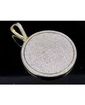 Mens 10K Yellow Gold Genuine Diamond Iced Medallion Pendant Charm 1 3/4 Ct 1.75""