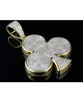 Men's 10K Yellow Gold Flower Clover Club Real Diamond Pendant 2.0ct