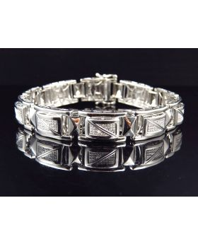 Genuine Diamond Cut Out Link Style Bracelet In White Gold Finish 12MM (1.0Ct)