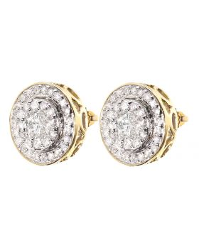 Round/Princess Diamond Halo Earrings (0.90 ct)