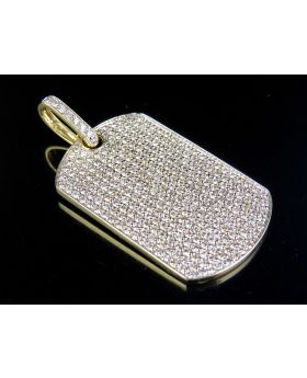 """Mens 10K Yellow Gold Real VS Diamond Iced Out DogTag Pendant Charm 3 1/2 Ct 1.9"""""""